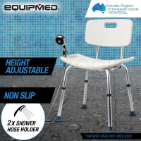 EQUIPMED Adjustable Height Shower Chair Seat with Hand Shower Head Holder