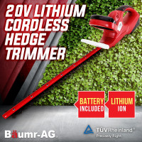 Baumr-AG 20V Cordless Hedge Trimmer Lithium-Ion Battery Electric Garden Tool 22""