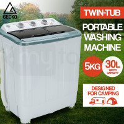 GECKO 5kg Mini Twin Tub Portable Washing Machine Camping Caravan Outdoor Boat RV