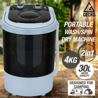 Black 4kg Spin-Dry 2-in-1 Mini Portable Washing Machine - GPW-4BK