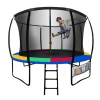 UP-SHOT 8ft Round Kids Trampoline with Curved Pole Design, Black with Multi-colour padding