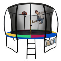 UP-SHOT 10ft Round Kids Trampoline with Curved Pole Design and Basketball Set, Black and Multi-colour