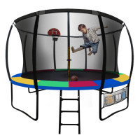 UP-SHOT 14ft Round Kids Trampoline with Curved Pole Design and Basketball Set, Black and Multi-colour