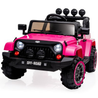ROVO KIDS Jeep Inspired 4WD Electric Kids Ride On Car Battery Powered 12V, MP3 Player - Pink