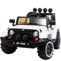 ROVO KIDS Jeep Inspired 4WD Electric Kids Ride On Car Battery Powered 12V, MP3 Player - White