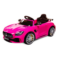 Kids Ride On Car Licensed Mercedes-Benz AMG GTR Electric Toy Battery Remote Pink