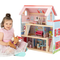ROVO KIDS Pink Wooden Dollhouse Mansion with 16 Pieces Furniture