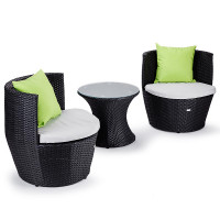 London Rattan 3 Piece Seats and Side Table Set