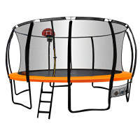 16ft Round Trampoline Basketball Set Safety Net Pad Spring Ladder KickDeck
