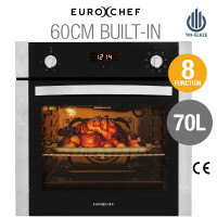 60cm Stainless Built-in 70L Grill 8 Function Fan Forced Electric Wall Oven