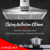 EuroChef 90CM Pyramid Rangehood 900MM Stainless Steel Wall Mounted 3 Speed Fan
