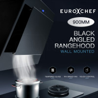 Black 900mm Angled Wall Mounted Rangehood
