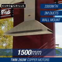 EuroGrille 1500mm Stainless Steel Wall Mount Alfresco Rangehood