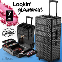 7 in 1 Cosmetic Case Beauty Makeup Holder Organiser Black Diamond Trolley
