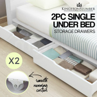 KINGSTON Single Bed Frame Storage Trundle Drawers Kid White Timber Furniture