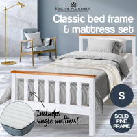 White, Teak Accents Bed Frame With Mattress Single Indoor Furniture