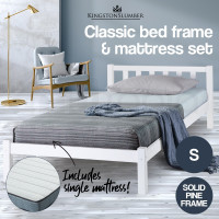 White Single Bed Frame With Medium Firm Mattress