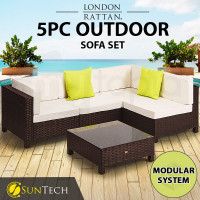 LONDON RATTAN Modular Sofa Outdoor Furniture Set 5pc Wicker Brown Cream