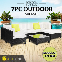 LONDON RATTAN Modular Sofa Outdoor Lounge Set 7pc Wicker Black Cream