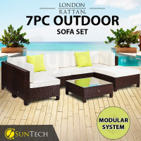 LONDON RATTAN Modular Sofa Outdoor Lounge Set 7pc Wicker Brown Cream