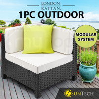 LONDON RATTAN Corner Modular Outdoor Lounge Chair 1pc Wicker Black Light Grey