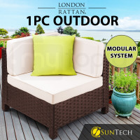 LONDON RATTAN Corner Modular Outdoor Lounge Chair 1pc Wicker Brown Beige