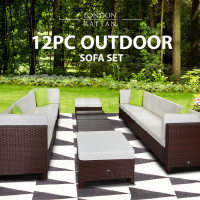 LONDON RATTAN Modular Sofa Outdoor Lounge Set 12pc Wicker Brown Beige