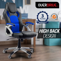 OVERDRIVE Racing Office Chair - Seat Executive Computer Deluxe Gaming PU Leather