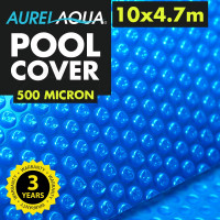 AURELAQUA Solar Swimming Pool Cover 500 Micron Heater Bubble Blanket 10x4.7m