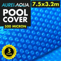 AURELAQUA Solar Swimming Pool Cover 500 Micron Heater Bubble Blanket 7.5x3.2m