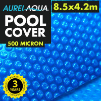 AURELAQUA Solar Swimming Pool Cover 500 Micron Heater Bubble Blanket 8.5x4.2m