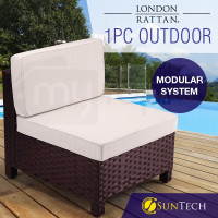 LONDON RATTAN 1pc Sofa Outdoor Furniture Setting Lounge Garden Cushion Couch