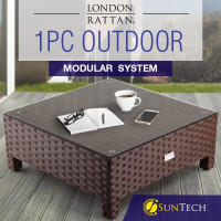 LONDON RATTAN Coffee Table Outdoor Lounge Furniture 1pc Wicker Brown