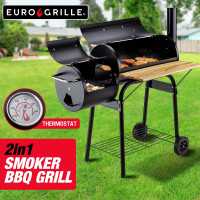 EuroGrille 2in1 Charcoal Smoker BBQ Grill Roaster Portable Steel Oven Barbeque