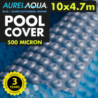 Silver / Blue 10 x 4.7m Roller Swimming Pool Cover