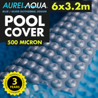 Silver / Blue 6 x 3.2m Roller Swimming Pool Cover