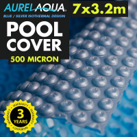 AURELAQUA Solar Swimming Pool Cover 500 Micron Heater Bubble Blanket 7x3.2M