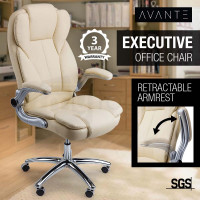 AVANTE Executive Premium Office Chair Faux Leather Cream Retractable Armrest