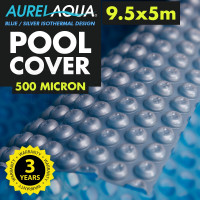 Silver/Blue 9.5x5m Swimming Pool Solar Cover