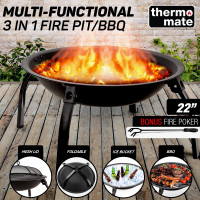 "22"" Outdoor Fire Pit BBQ Portable Camping Fireplace Heater Patio Garden Grill"