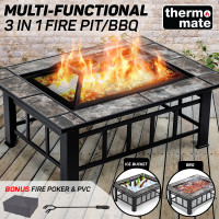 THERMOMATE 3in1 Outdoor Fire Pit BBQ Grill Heater Brazier Camping Fireplace