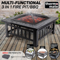 THERMOMATE 3in1 Outdoor Fire Pit BBQ Grill Heater Camping Fireplace Brazier