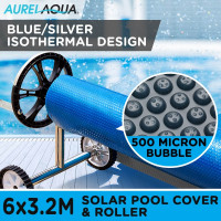 AURELAQUA Solar Swimming Pool Cover + Roller Wheel Adjustable 500 Bubble 6 x3.2M
