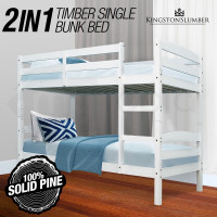 KINGSTON Single Bunk Bed Frame Wooden Kids Timber Loft Bedroom Furniture