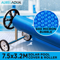 Blue/Blue 7.5 x 3.2m 500 micron Swimming Pool Cover & Roller