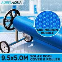 AURELAQUA Solar Swimming Pool Cover + Roller Wheel Adjustable 500 Bubble 9.5 x5M