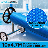 AURELAQUA Solar Swimming Pool Cover + Roller Bubble Blanket Heater Blue 10x4.7M