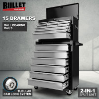 BULLET 15 Drawer Tool Box Storage Cabinet Chest Garage Trolley Mechanic Toolbox