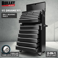 BULLET 15 Drawer Tool Box Storage Cabinet Chest Mechanic Toolbox Garage Trolley