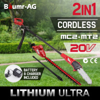 Baumr-AG 20V Lithium Pole Chainsaw Hedge Trimmer Battery Electric Cordless Saw